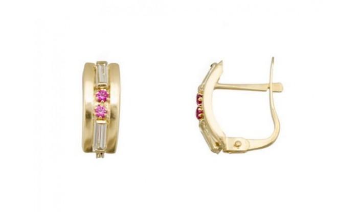 Pendientes 2 bandas en Oro con circonitas 212_55886-P/A/RU-CI