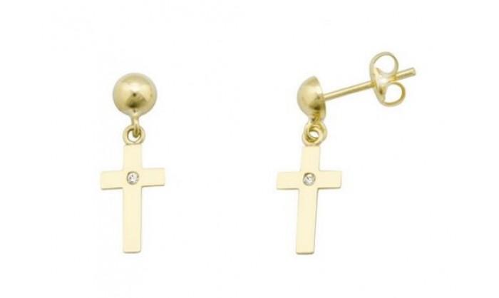 Pendientes bola con cruz en Oro con circonita 212_55893-P/A/CI