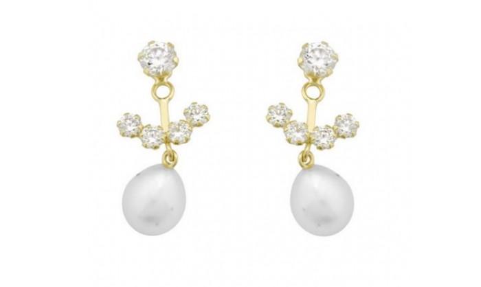 Pendientes movibles en Oro con circonitas y perla  212_55895-P/A/PE-CI