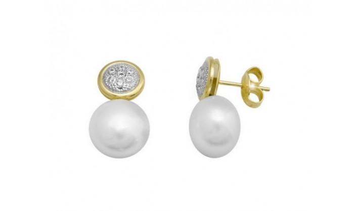 Pendientes circulares en Oro con circonitas y perla  212_55900-P/X/PE-CI
