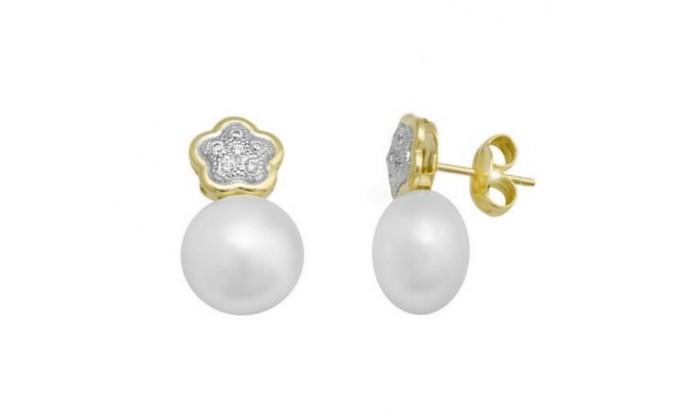 Pendientes flor en Oro con circonitas y perla  212_55901-P/X/PE-CI