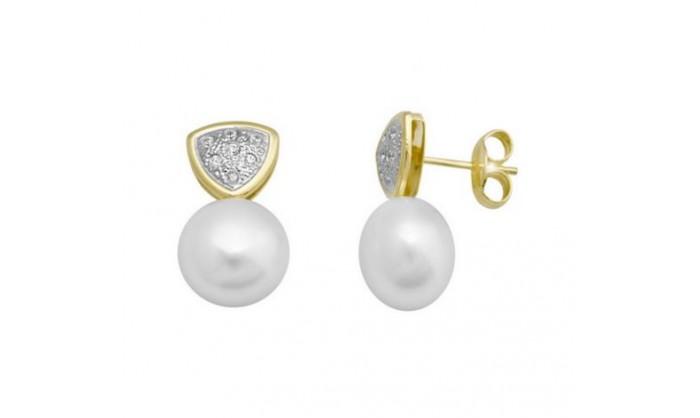 Pendientes triangulares en Oro con circonitas y perla  212_55902-P/X/PE-CI