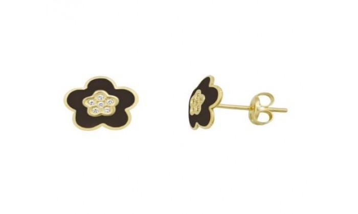 Pendientes flor negra en Oro 18 Kl  212_55909-P/A/NG