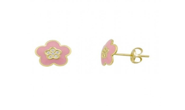 Pendientes flor rosa en Oro 18 Kl  212_55909-P/A/RO