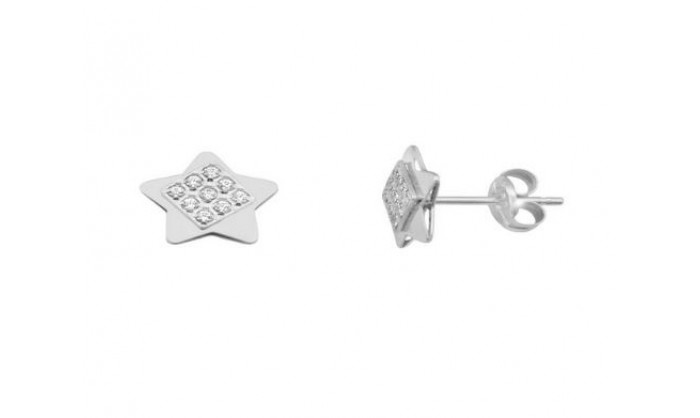Pendientes estrella en Oro Blanco 212_55910-P/B/CI