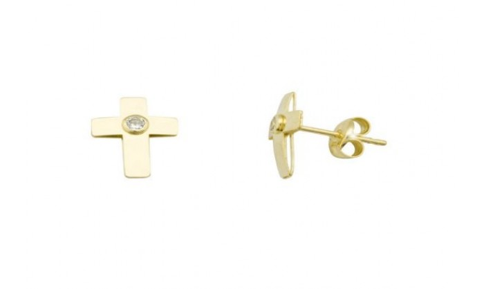 Pendientes cruz en Oro con circonita 212_55912-P/A/CI