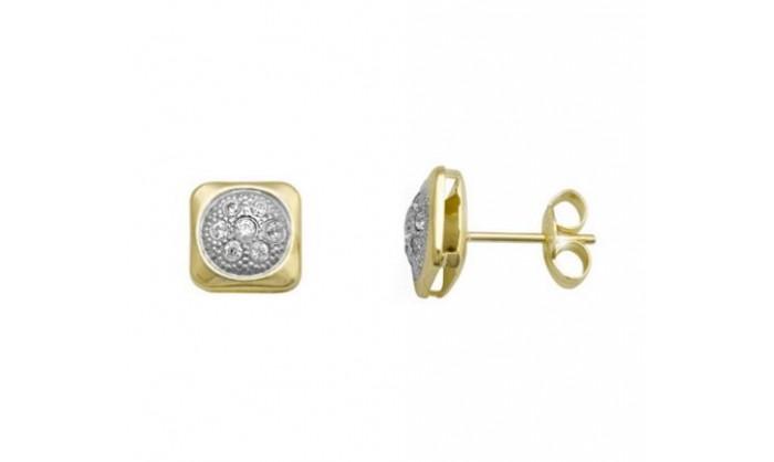 Pendientes cuadrado en Oro con circonitas 212_55904-P/X/CI