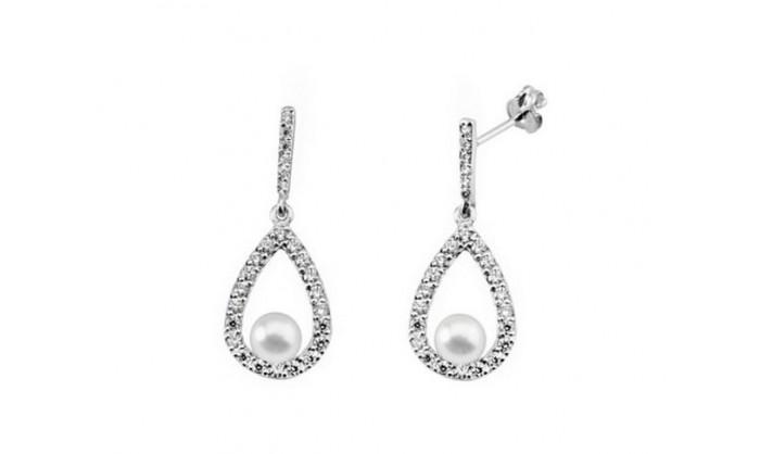 Pendientes lagrimas con perla en oro blanco 212_53838-P/B/PE-CI
