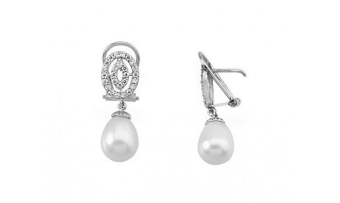 Pendientes largos ovalados de oro blanco con perla 212_53919-P/B/PE-CI