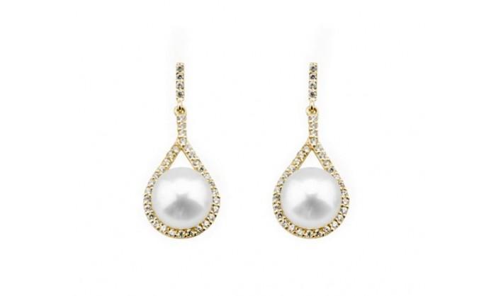 Pendientes lagrimas con perla en oro 212_53971-P/A/CI