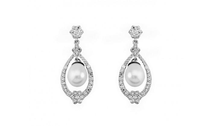 Pendientes largos banda de oro blanco con perla 212_54008-P/B/CI