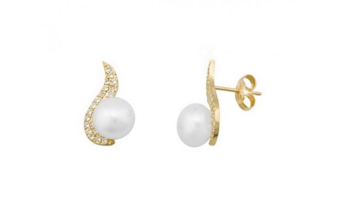 Pendientes banda con perla en oro 212_54138-P/A/PE-CI