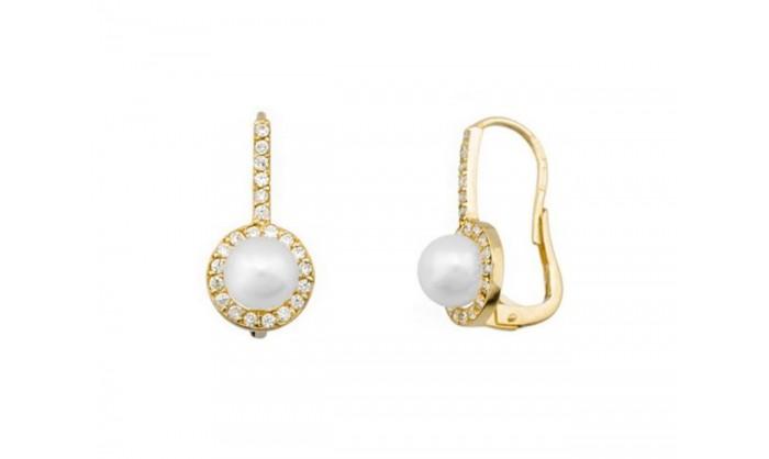 Pendientes largos banda con perla en oro 212_54155-P/A/PE-CI