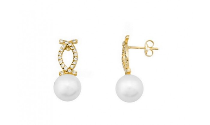 Pendientes 2 bandas cruzadas en oro c/ perla 212_54197-P/A/PE-CI