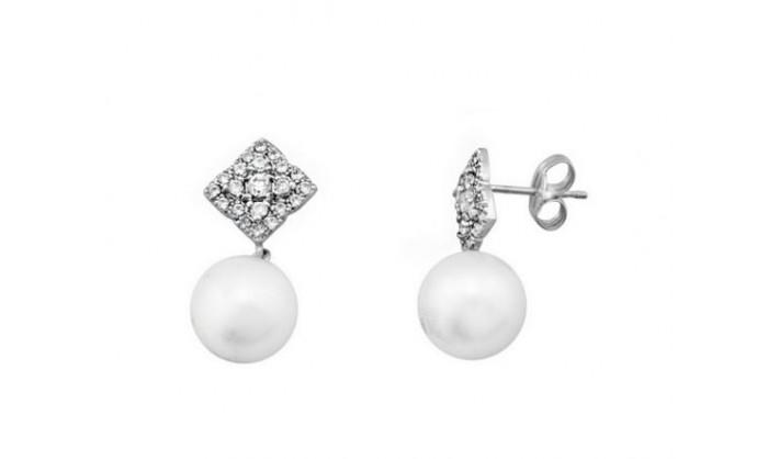 Pendientes rombo en oro blanco con perla 212_54209-P/B/PE-CI