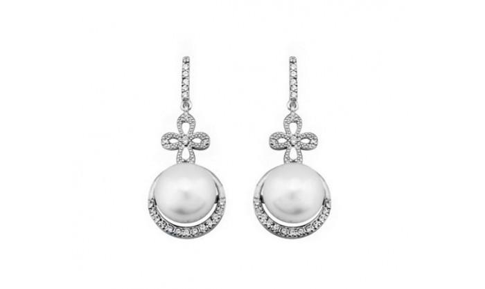 Pendientes largos banda de oro blanco con perla 212_54436-P/B/PE-CI