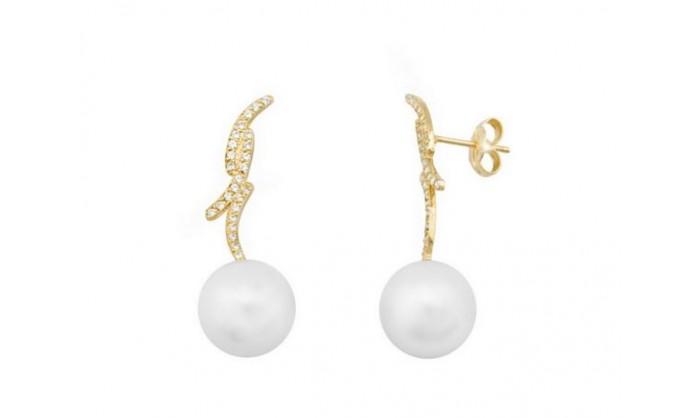 Pendientes tres bandas de oro con perla 212_54464-P/A/PE-CI