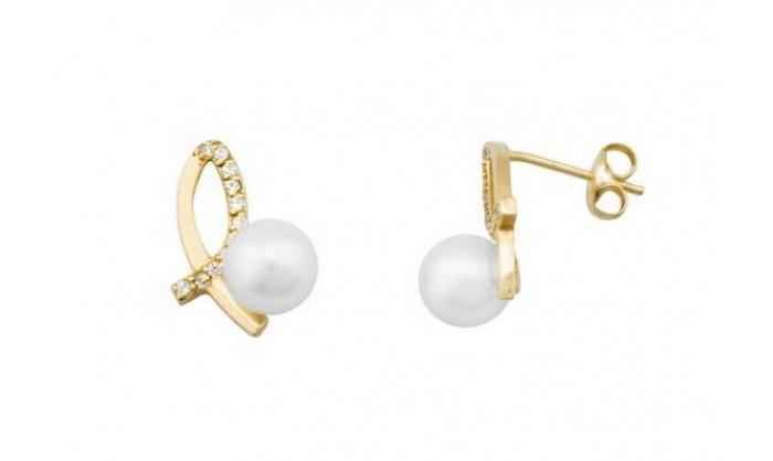 Pendientes dos bandas de oro con perla 212_54478-P/A/PE-CI