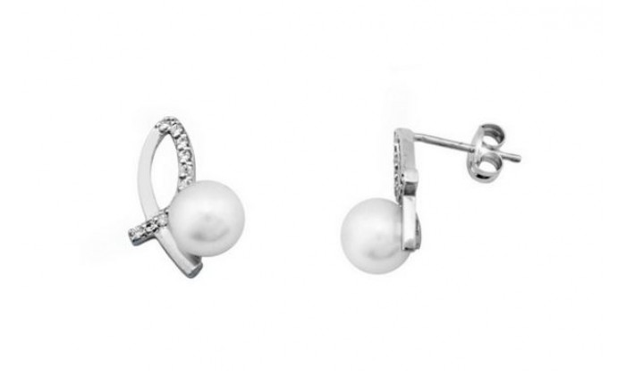 Pendientes dos bandas de oro blanco con perla 212_54478-P/B/PE-CI