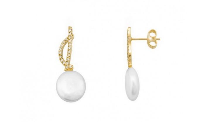 Pendientes dos bandas en oro con perla 212_54502-P/A/PE-CI