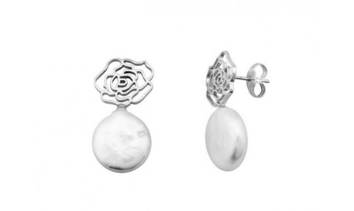 Pendientes rosas en oro blanco con perla 212_54522-P/B/PE