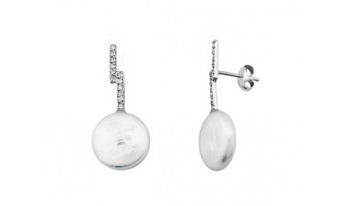 Pendientes en oro blanco con perla 212_54553-P/B/PE-CI
