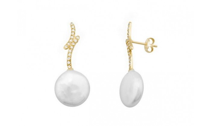 Pendientes dos bandas en oro con perla 212_54554-P/A/PE-CI