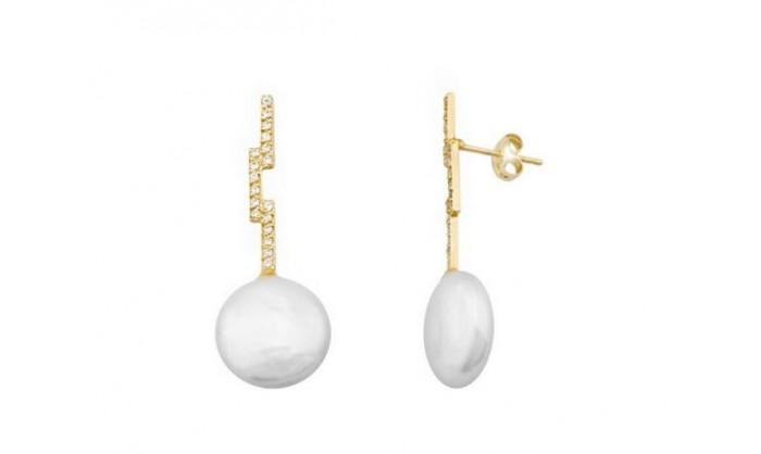 Pendientes largos en oro con perla 212_54555-P/A/PE-CI