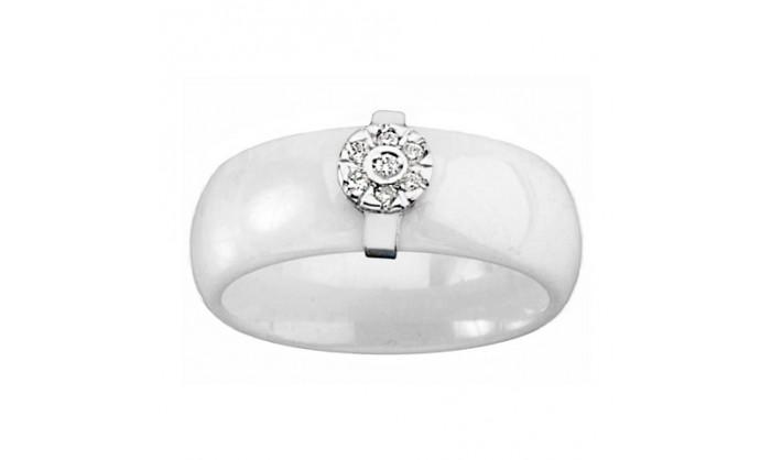 Sortija porcelana blanca oro blanco brillantes 212_55263SBBTES