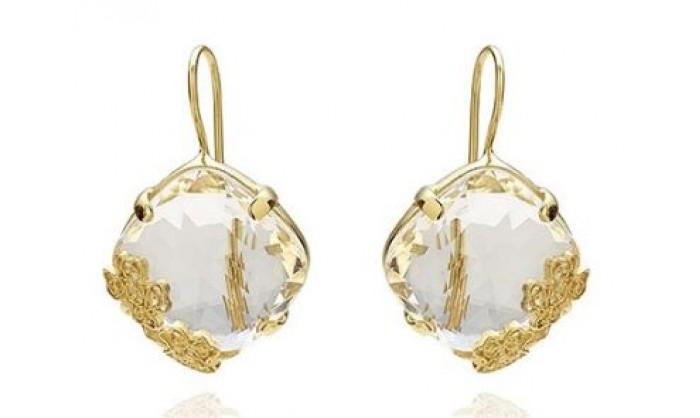 Pendientes en plata con piedra cristal 1B6-111005